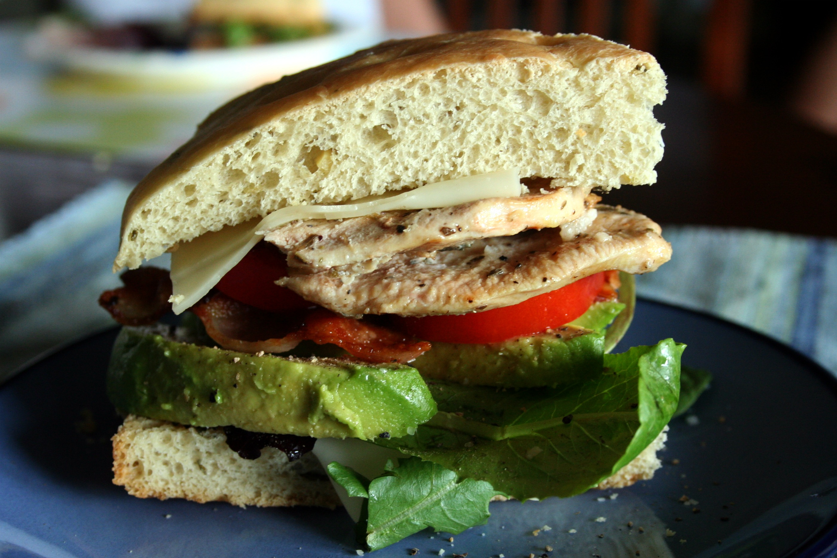 Grilled Chicken Club Sandwich on Rosemary Focaccia | Mom-Makes...